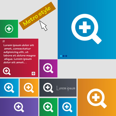 interface menu tool: Magnifier glass, Zoom tool icon sign. Metro style buttons. Modern interface website buttons with cursor pointer. Vector illustration Illustration