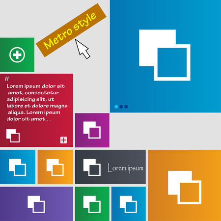 photoshop: Active color toolbar icon sign. Metro style buttons. Modern interface website buttons with cursor pointer. Vector illustration
