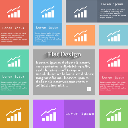 upturn: Growth and development concept. graph of Rate icon sign. Set of multicolored buttons. Metro style with space for text. The Long Shadow Vector illustration Illustration