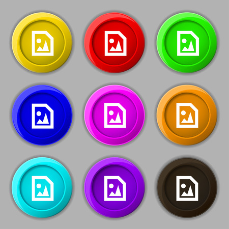 mime: File JPG icon sign. symbol on nine round colourful buttons. Vector illustration