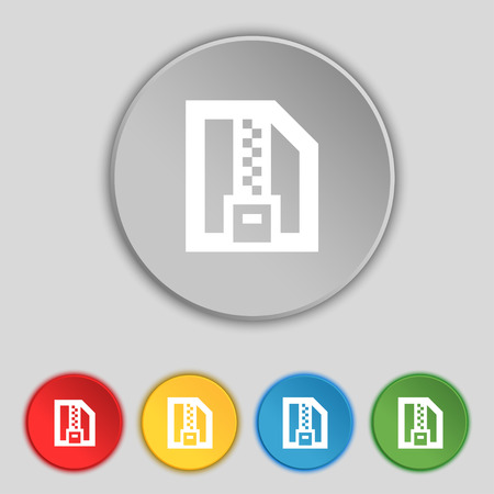 compressed: Archive file, Download compressed, ZIP zipped icon sign. Symbol on five flat buttons. Vector illustration Illustration