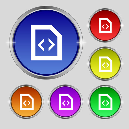 programming code: Programming code icon sign. Round symbol on bright colourful buttons. Vector illustration