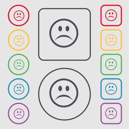 sadness: Sad face, Sadness depression icon sign. symbol on the Round and square buttons with frame. Vector illustration