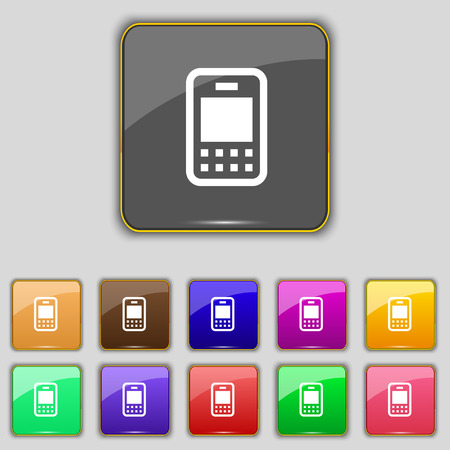 telecommunications technology: Mobile telecommunications technology icon sign. Set with eleven colored buttons for your site. Vector illustration