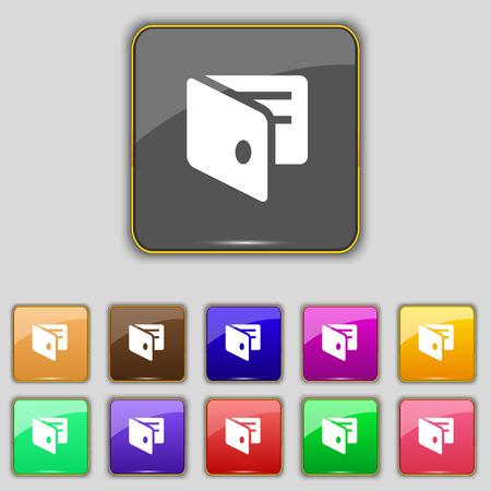 business card holder: eWallet, monedero electr�nico, tarjeta de visita icono Holder signo. Set con once botones de colores para su sitio. Ilustraci�n vectorial Vectores