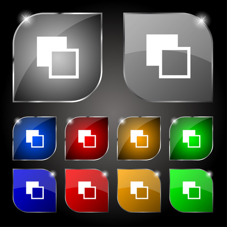 photoshop: Active color toolbar icon sign. Set of ten colorful buttons with glare. Vector illustration Illustration