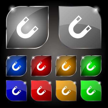 electromagnetic field: magnet, horseshoe icon sign. Set of ten colorful buttons with glare. Vector illustration