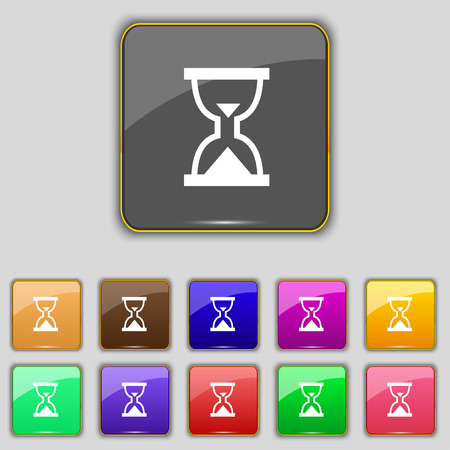 sand timer: Hourglass, Sand timer icon sign. Set with eleven colored buttons for your site. Vector illustration Illustration
