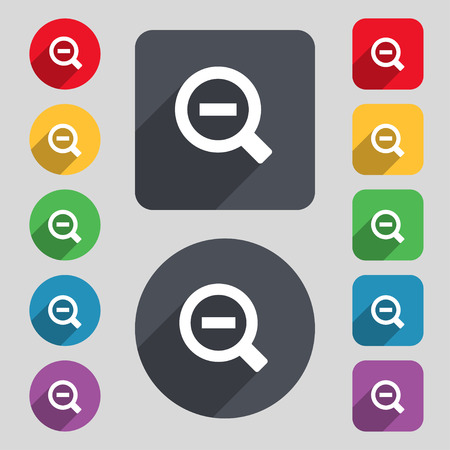 interface menu tool: Magnifier glass, Zoom tool icon sign. A set of 12 colored buttons and a long shadow. Flat design. Vector illustration Illustration