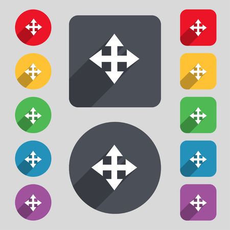Deploying video, screen size icon sign. A set of 12 colored buttons and a long shadow. Flat design. Vector illustration