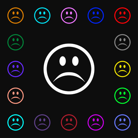 sadness: Sad face, Sadness depression  icon sign. Lots of colorful symbols for your design. Vector illustration