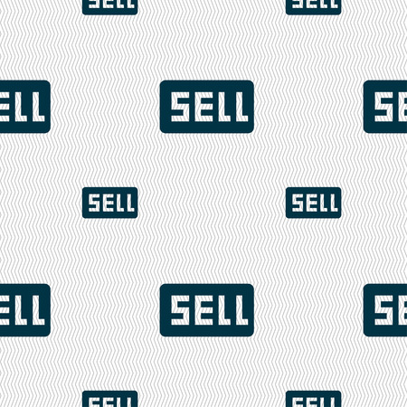 contributor: Sell, Contributor earnings icon sign. Seamless pattern with geometric texture. Vector illustration