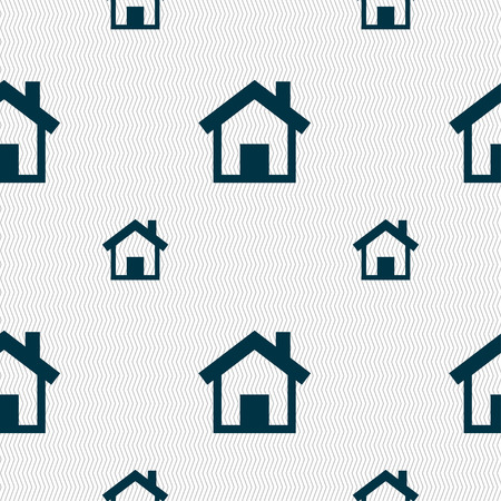 main: Home, Main page icon sign. Seamless pattern with geometric texture. Vector illustration