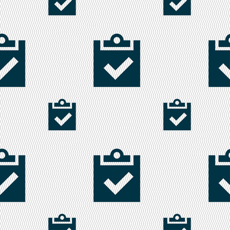 Check mark, tik icon sign. Seamless pattern with geometric texture. Vector illustration