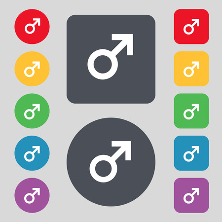 artistic nude: Male sex icon sign. A set of 12 colored buttons. Flat design. Vector illustration Illustration