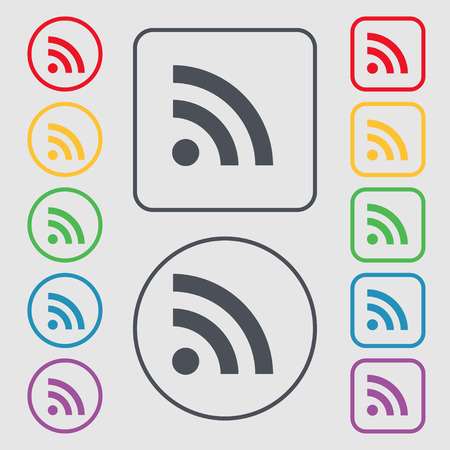 rss feed: RSS feed icon sign. symbol on the Round and square buttons with frame. Vector illustration
