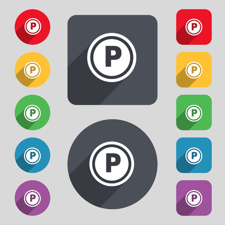 toll: Car parking icon sign. A set of 12 colored buttons and a long shadow. Flat design. Vector illustration Illustration
