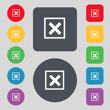 Cancel  icon sign. A set of 12 colored buttons. Flat design. Vector illustration Stock Photo