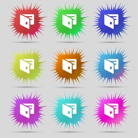 business card holder: eWallet, monedero electr�nico, tarjeta de visita icono Holder signo. Un conjunto de nueve botones originales de agujas. Ilustraci�n vectorial