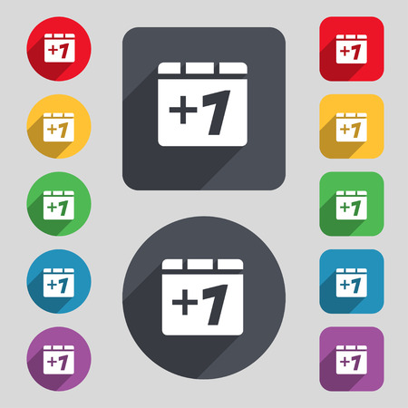 Plus one, Add one icon sign. A set of 12 colored buttons and a long shadow. Flat design. Vector illustration