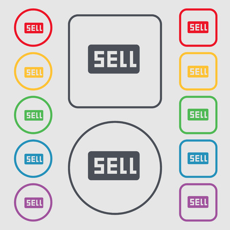 contributor: Sell, Contributor earnings icon sign. symbol on the Round and square buttons with frame. Vector illustration