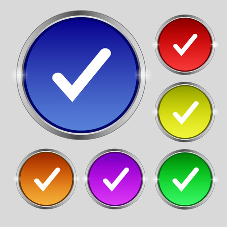 Check mark, tik icon sign. Round symbol on bright colourful buttons. Vector illustration