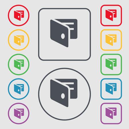 business card holder: eWallet, monedero electr�nico, tarjeta de visita icono Holder signo. s�mbolo en el botones cuadrados con Marco redondo y. Ilustraci�n vectorial