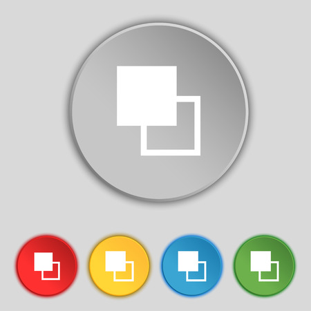 Active color toolbar icon sign. Symbol on five flat buttons. Vector illustration Illustration