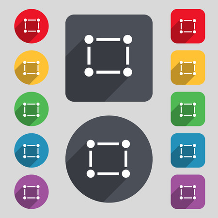 registration mark: Crops and Registration Marks icon sign. A set of 12 colored buttons and a long shadow. Flat design. Vector illustration Illustration