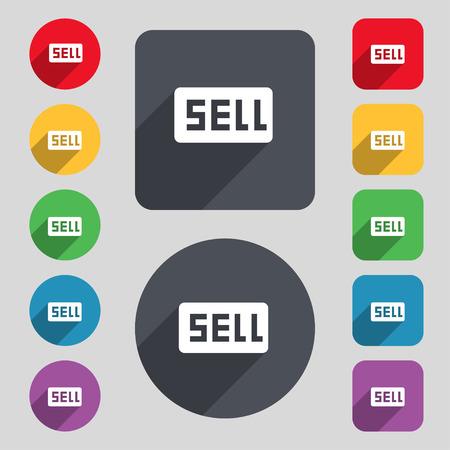 earnings: Verkaufen, Profi-Ergebnis-Symbol-Zeichen. Ein Satz von 12 farbigen Tasten und einen langen Schatten. Flache Bauweise. Vektor-Illustration