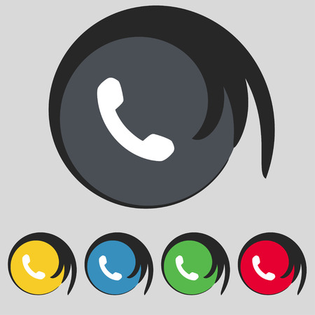 phone support: Phone, Support, Call center icon sign. Symbol on five colored buttons. Vector illustration Illustration