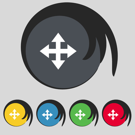 size: Deploying video, screen size icon sign. Symbol on five colored buttons. Vector illustration