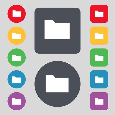 map case: Document folder icon sign. A set of 12 colored buttons. Flat design. Vector illustration Illustration