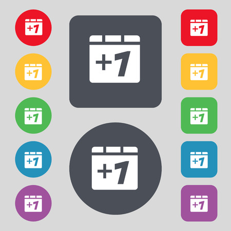 append: Plus one, Add one icon sign. A set of 12 colored buttons. Flat design. Vector illustration