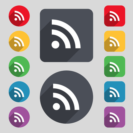rss feed icon: RSS feed icon sign. A set of 12 colored buttons and a long shadow. Flat design. Vector illustration