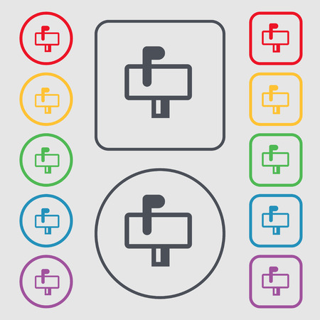 media distribution: Mailbox icon sign. symbol on the Round and square buttons with frame. Vector illustration