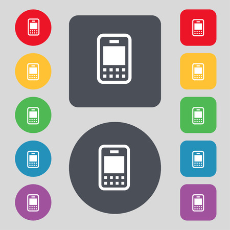 telecommunications technology: Mobile telecommunications technology icon sign. A set of 12 colored buttons. Flat design. Vector illustration