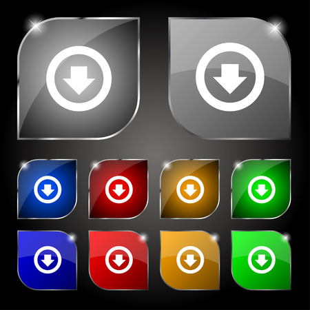 down load: Arrow down, Download, Load, Backup icon sign. Set of ten colorful buttons with glare. Vector illustration