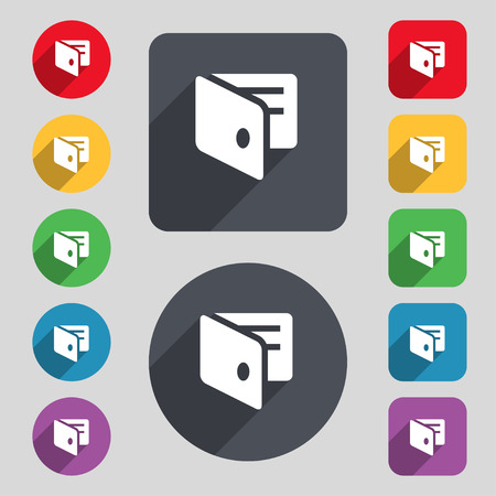 business card holder: eWallet, monedero electr�nico, tarjeta de visita icono Holder signo. Un conjunto de 12 botones de colores y una larga sombra. Dise�o plano. Ilustraci�n vectorial