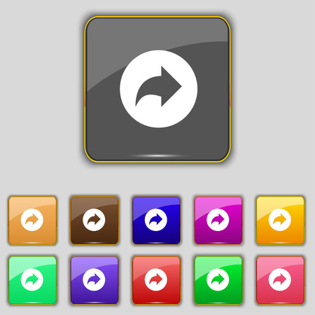 next icon: Arrow right, Next icon sign. Set with eleven colored buttons for your site. Vector illustration