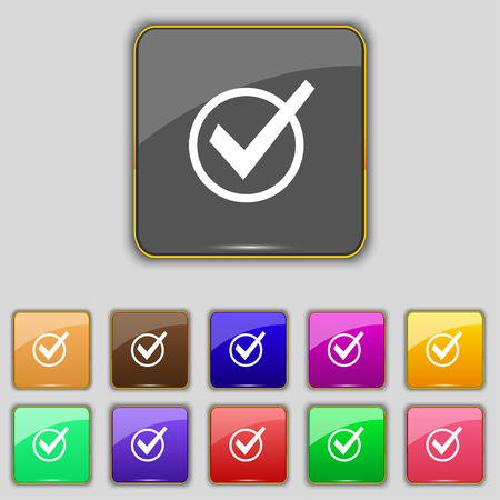 tik: Check mark, tik icon sign. Set with eleven colored buttons for your site. Vector illustration