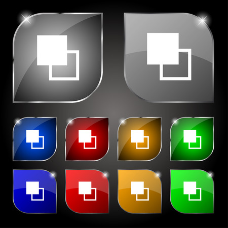 toolbar: Active color toolbar icon sign. Set of ten colorful buttons with glare. Vector illustration Illustration