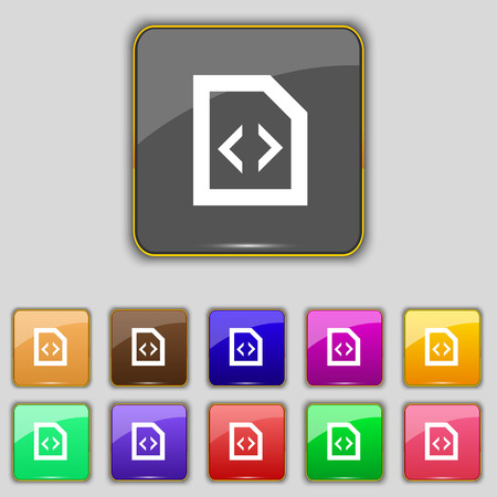 programming code: Programming code icon sign. Set with eleven colored buttons for your site. Vector illustration Illustration