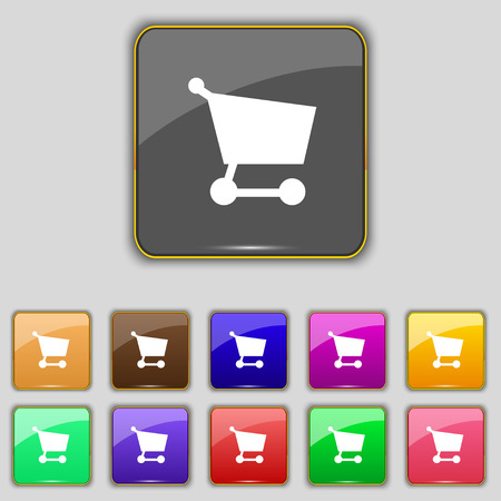 Shopping basket icon sign. Set with eleven colored buttons for your site. Vector illustration Vector