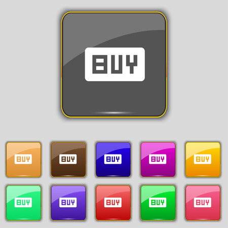 usd: Buy, Online buying dollar usd  icon sign. Set with eleven colored buttons for your site. Vector illustration