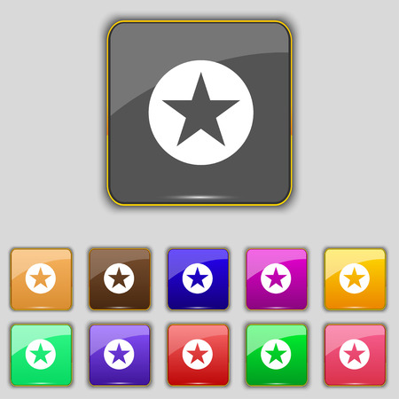 eleven: Star, Favorite Star, Favorite icon sign. Set with eleven colored buttons for your site. Vector illustration Illustration