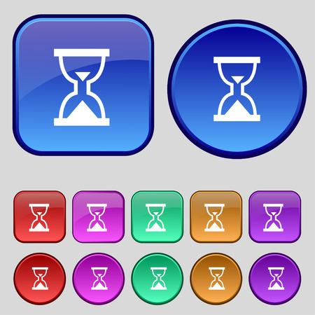 sand timer: Hourglass, Sand timer icon sign. A set of twelve vintage buttons for your design. Vector illustration
