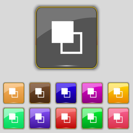 photoshop: Active color toolbar icon sign. Set with eleven colored buttons for your site. Vector illustration