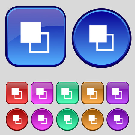 photoshop: Active color toolbar icon sign. A set of twelve vintage buttons for your design. Vector illustration