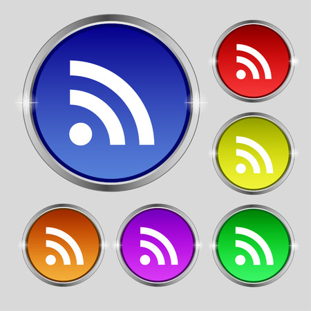 rss feed: RSS feed icon sign. Round symbol on bright colourful buttons. Vector illustration